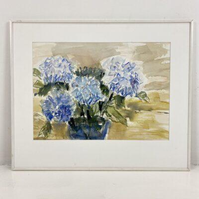 paveikslas su melsvomis gėlėmis