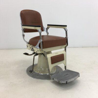 senovinė oda traukta reguliuojama kirpyklos kėdė