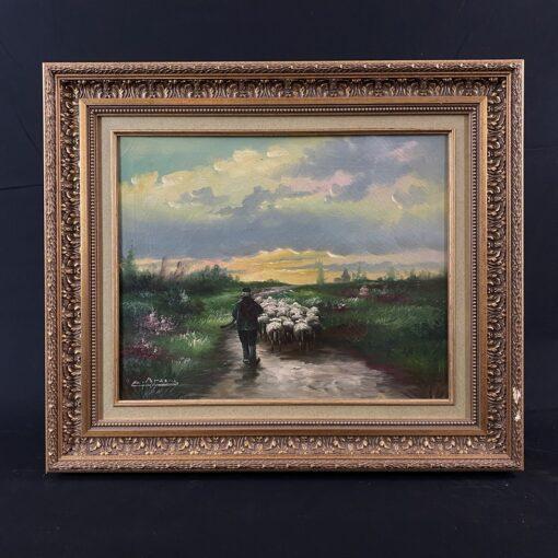 paveikslas su piemeniu ir avių banda