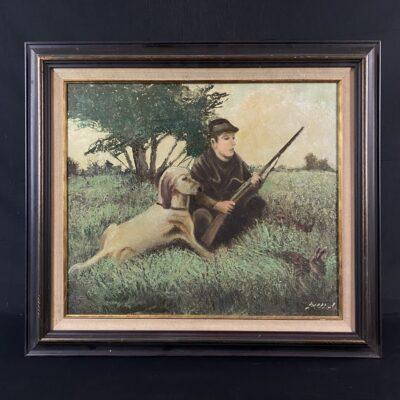 Paveikslas kuriame vaizduojamas pievoje priklaupęs medžiotojas su skaliku