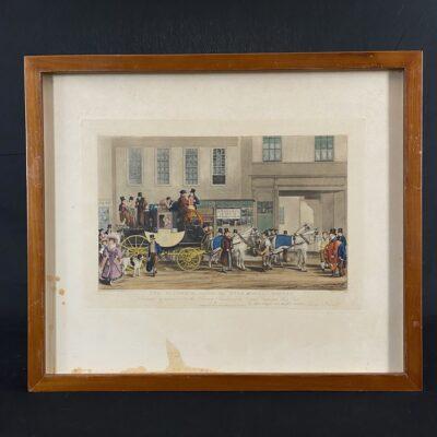 paveikslas litografija su Anglijos miestu centre karieta su ponais