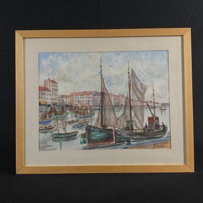 Akvarel;ė su buriniais laivais miesto prieplaukoje
