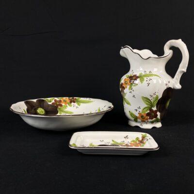 portugališkos keramikos prausimosi priemonių komplektas tapytas rankomis