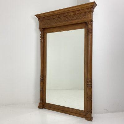 senovinis veidrodis ąžuoliniu rėmu