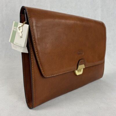 naujas rudas odinis portfelis