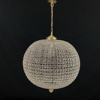 Rutulio formos pakabinamas suvertų stiklo detalių sietynas