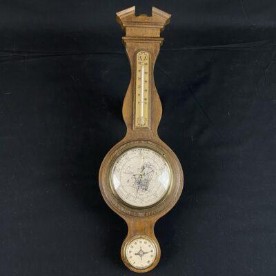 Sieninis medinis barometras su termometru ir hidrometru