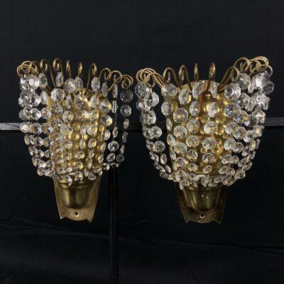 Žalvariniai sieniniai šviestuvai su krištolu