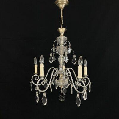 Penkių lempų stiklo ir metalo sietynas
