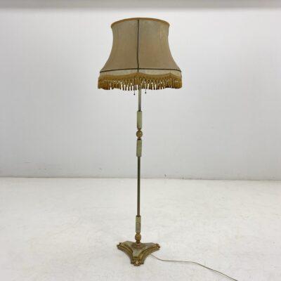 Pastatomas toršeras onikso ir žalvario stovu ir šviesiu gaubtu su kutais