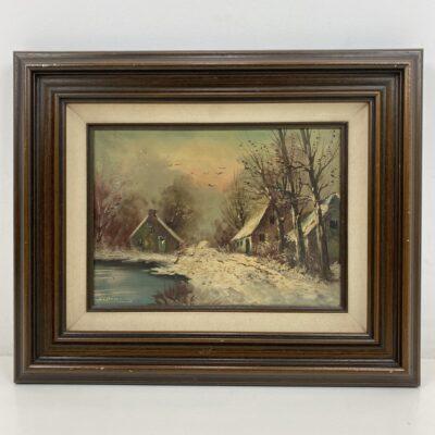 Aliejiniais dažais ant drobės tapytas paveikslas tamsiu mediniu rėmu