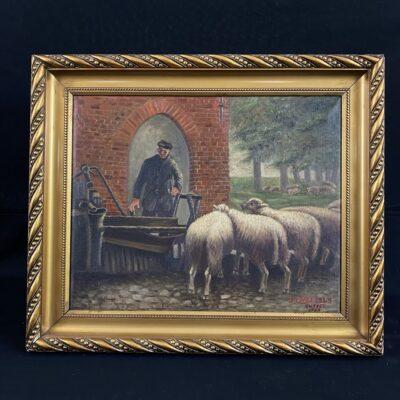 Aliejiniais dažais ant drobės tapytas paveikslas aukso spalvos rėmu