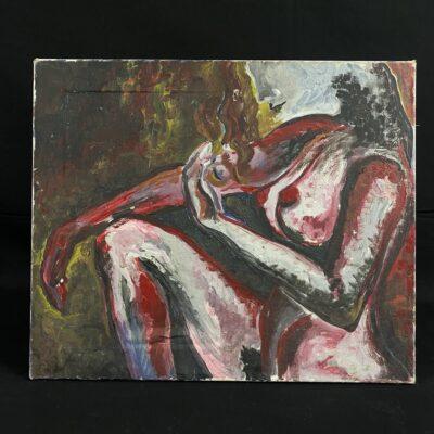 Aliejiniais dažais ant drobės tapytas moters paveikslas be rėmo