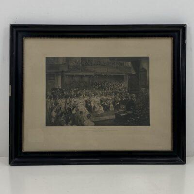 """Litografija """"Nyderlandų karalienės Vilhelminos vestuvės"""" mediniame rėme su stiklu"""