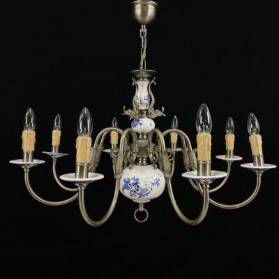 Aštuonių lempų metalinis sietynas su keramika