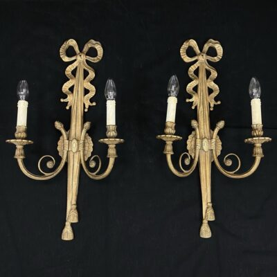 Sieninių dvišakių žalvarinių šviestuvų pora