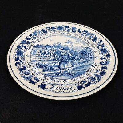 Pakabinama dekoratyvinė Delft keramikos lėkštė su šienapjūtės vaizdu