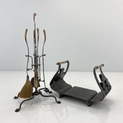 Kalvio darbo metalinių židinio įrankių komplektas su stovu ir malkine