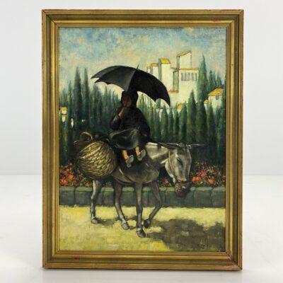 Aliejiniais dažais ant drobės tapytas paveikslas vaizduojantis ant asilo jojančią mergaitę su skėčiu