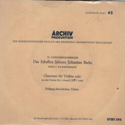 Johann Sebastian Bach, Wolfgang Schneiderhan - 1957 - Chaconne Für Violine Solo