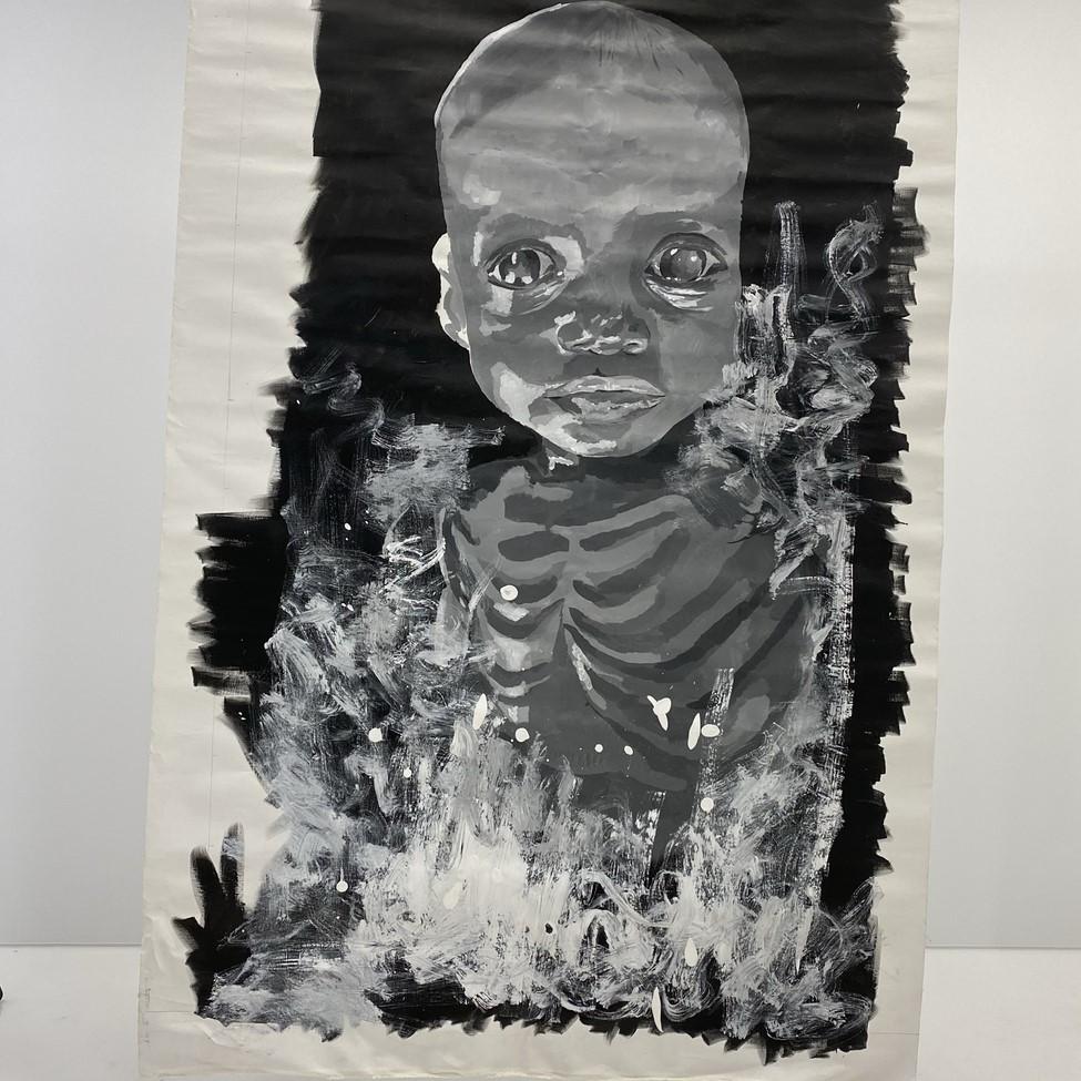 modernus vaiką vaizduojantis paveikslas